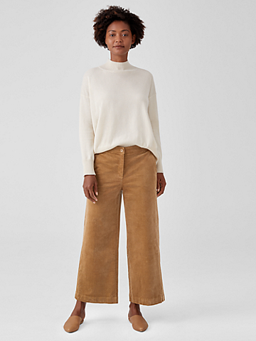 Cotton Corduroy Wide-Leg Ankle Pant