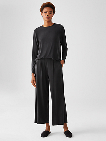 Sandwashed Cupro Knit Pleated Pant