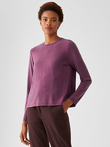 Sandwashed Cupro Knit Crew Neck Top