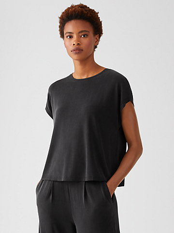 Sandwashed Cupro Knit Boxy Top