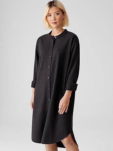 Soft Wool Flannel Shirtdress