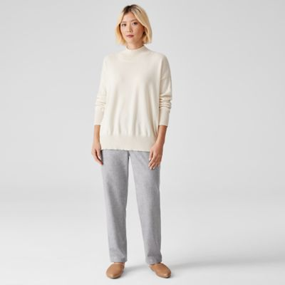 Soft Wool Flannel Tapered Ankle Pant