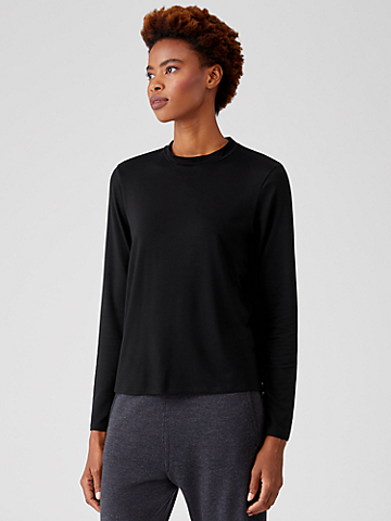 Fine Jersey Mock Neck Top