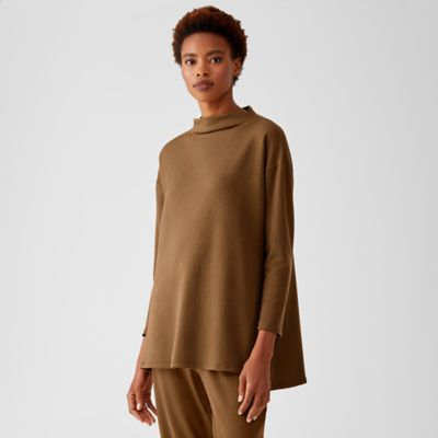 Cozy Brushed Terry Funnel Neck Tunic