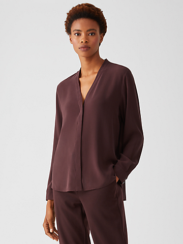 Silk Georgette Crepe V-Neck Shirt