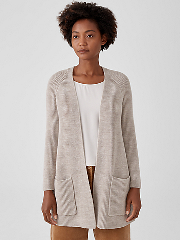 Merino Rib Raglan Cardigan in Regenerative Wool