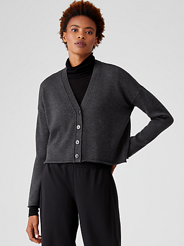 Merino Cropped Cardigan in Regenerative Wool