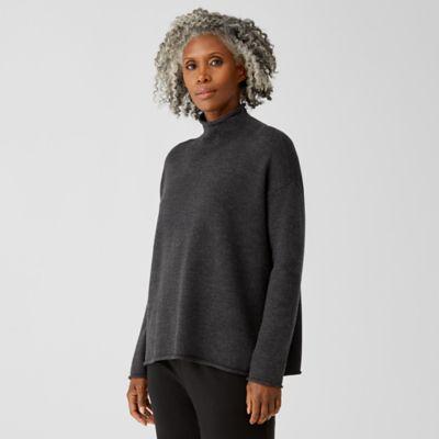 Merino Funnel Neck Box-Top in Regenerative Wool