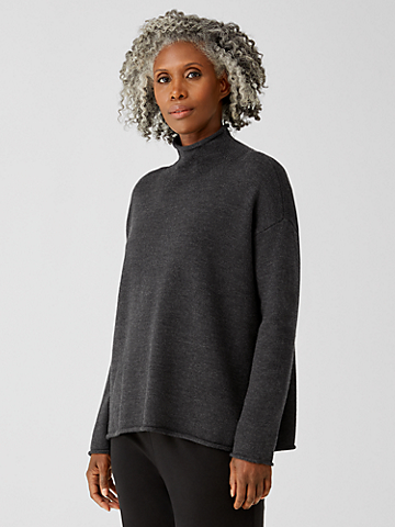 Merino Funnel Neck Box-Top in Regenerative Wool