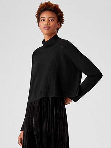 Merino Cropped Turtleneck Top in Regenerative Wool
