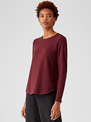 Organic Cotton Interlock Crew Neck Top