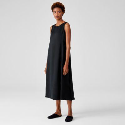 Sandwashed Cupro  Shaped Dress