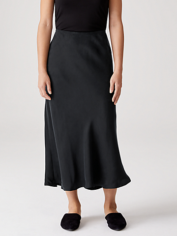 Sandwashed Cupro  Bias Midi Skirt