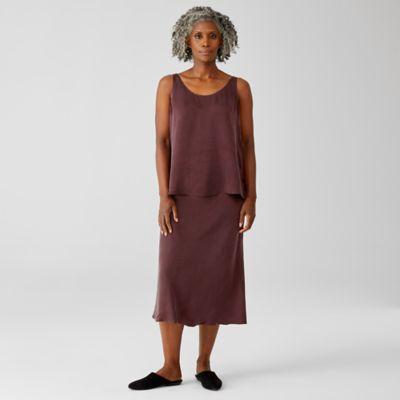 Sandwashed Cupro  Bias Midi Skirt