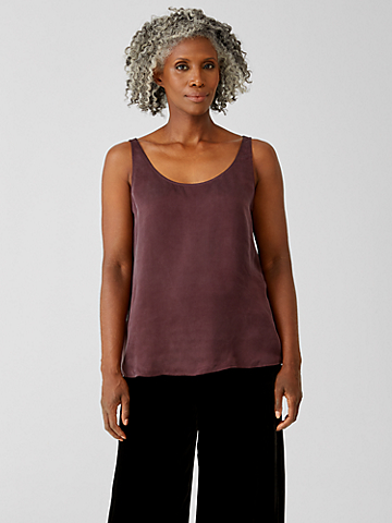 Sandwashed Cupro Scoop Neck Tank