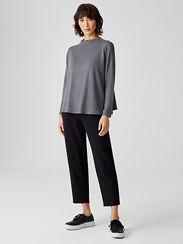 Stretch Terry Funnel Neck Box-Top
