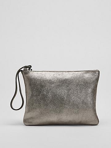 Shimmer Leather Wristlet