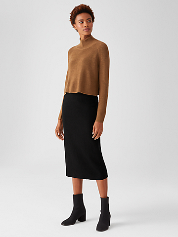 Lightweight Boiled Wool Pencil Skirt in Responsible Wool