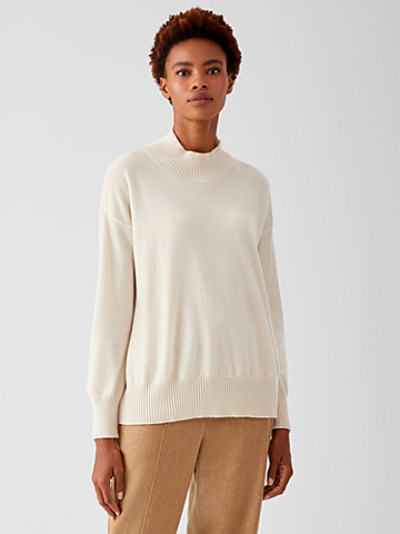Italian Cashmere Mock Neck Top