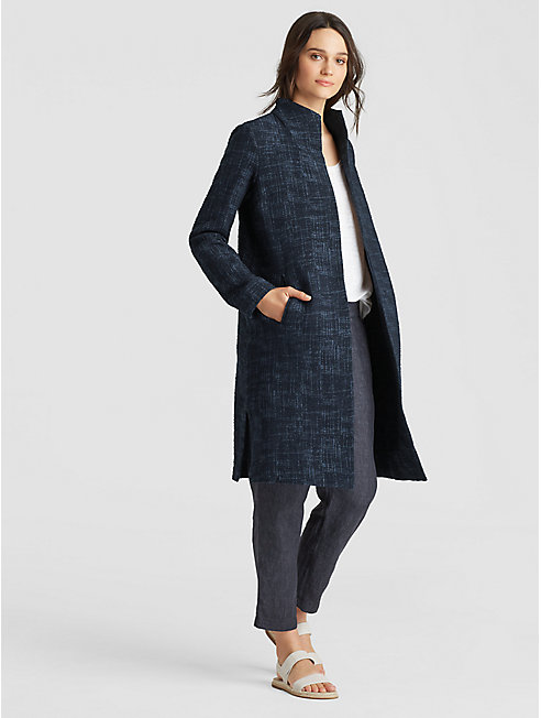 Crosshatch Cotton Tencel Long Jacket