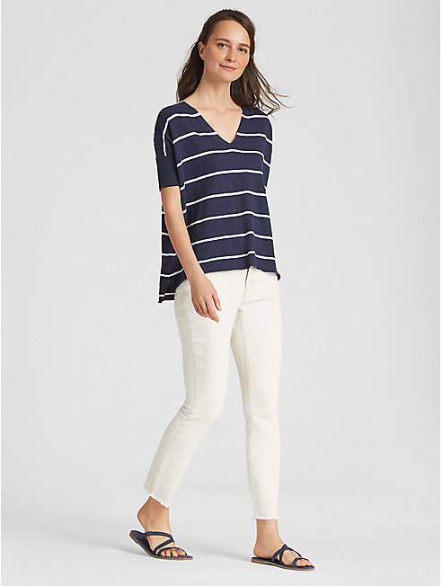Organic Linen Cotton Slub Stripe Box-Top