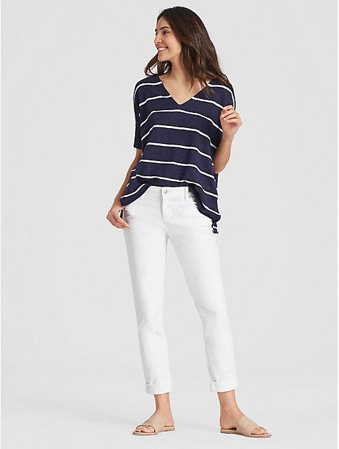 Garment-Dyed Organic Cotton Boyfriend Jean
