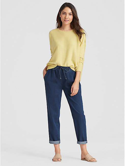 Tencel Organic Cotton Denim Drawstring Ankle Pant
