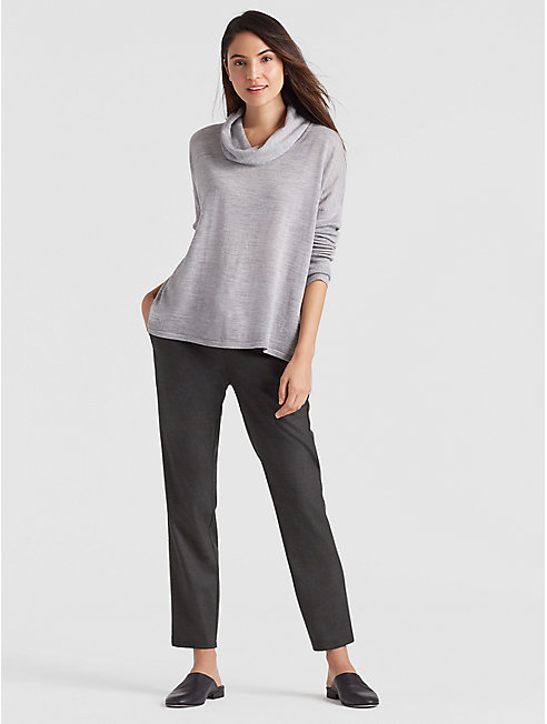 Heathered Flannel Slouchy Ankle Pant
