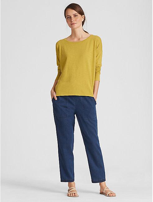 Organic Cotton Jersey Slub Ballet Neck Top