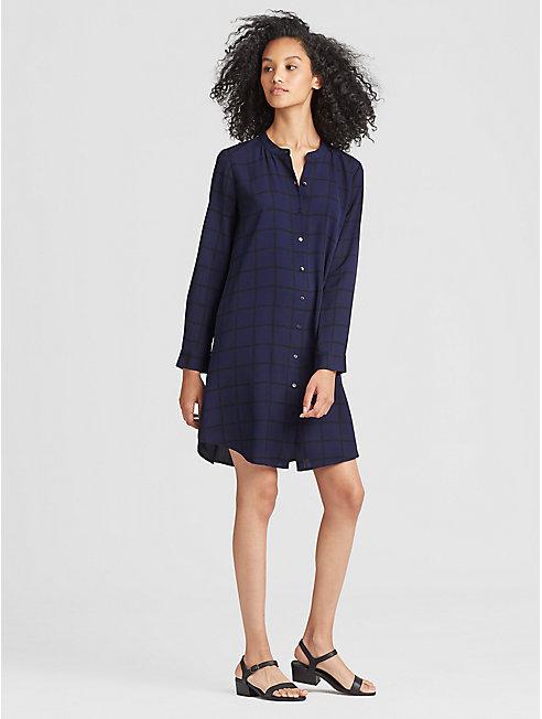 Plaid Silk Shirt Dress