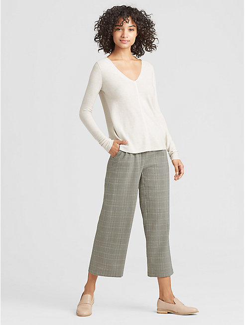 Drapey Wool Plaid Cropped Pant