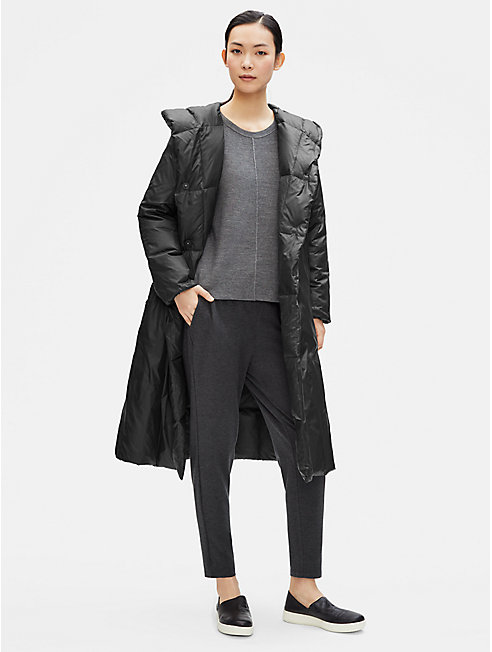 Recycled Nylon Hooded Parka Coat