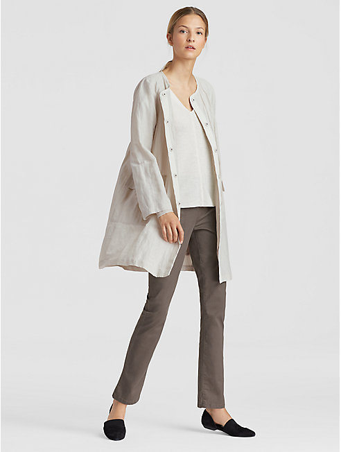 Rumpled Organic Cotton Steel Long Jacket