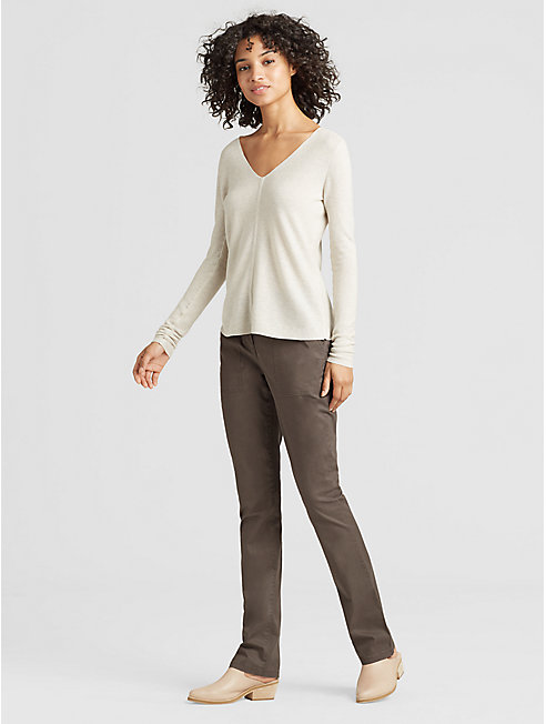 Washed Organic Cotton Tencel Slim Boot-Cut Pant