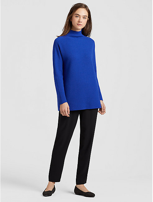 Seamless Italian Cashmere Funnel Neck Top