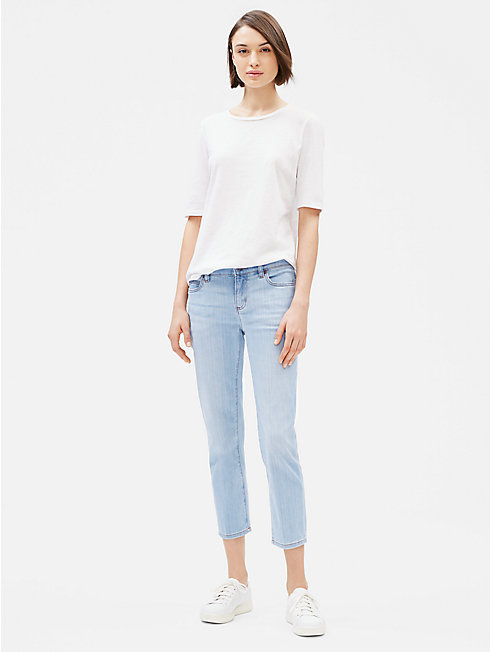 Organic Cotton Stretch Straight Cropped Jean