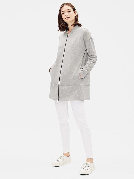64d640aec Brushed Cotton Terry Flight Jacket | EILEEN FISHER