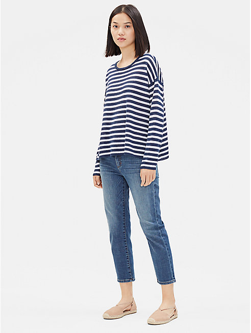 Organic Linen Striped Box-Top