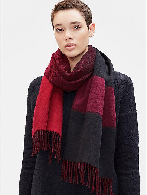 Wool Jacquard Striped Scarf