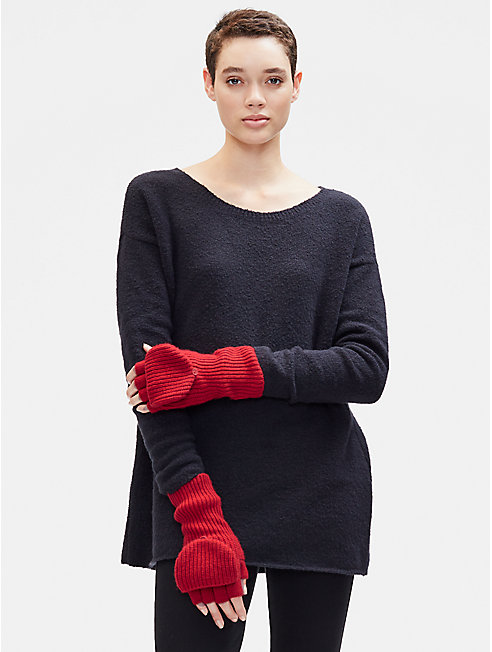 Lofty Recycled Cashmere Glovelettes with Mitten Flaps