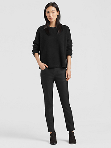 Coated Organic Cotton Slim Ankle Jean