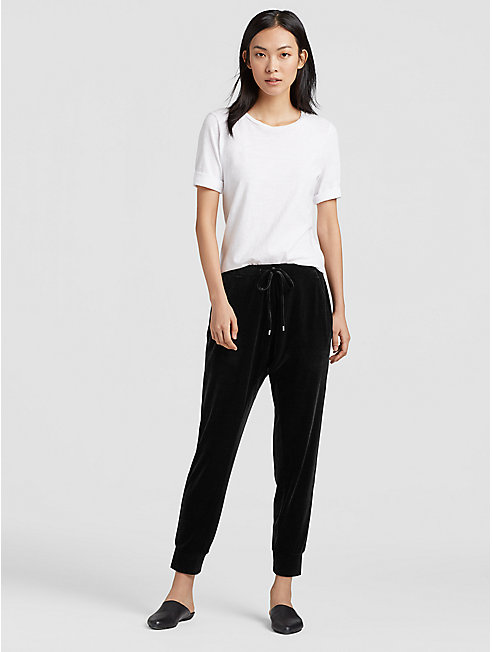 Stretch Velvet Knit Slouchy Pant