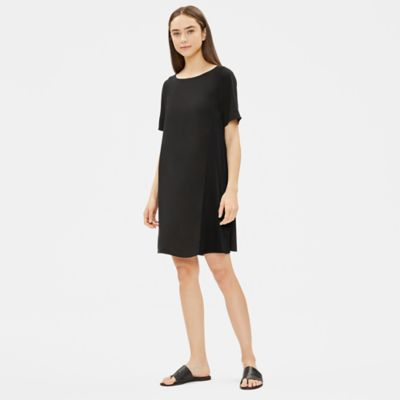 Silk Georgette Crepe Shift Dress