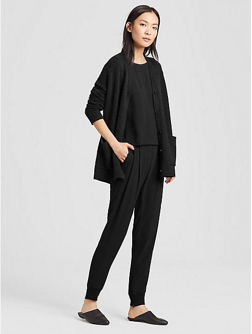 Silk Georgette Crepe Slouchy Pant with Cuffs