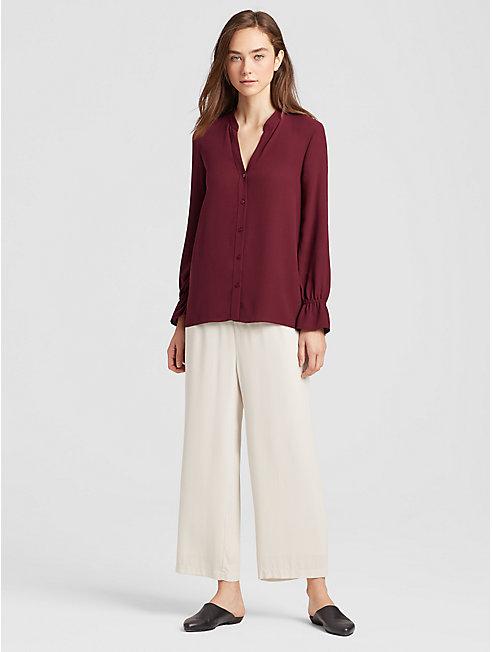 Silk Georgette Crepe Flutter Sleeve Shirt