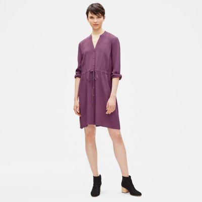Tencel Viscose Crepe Drawstring Dress