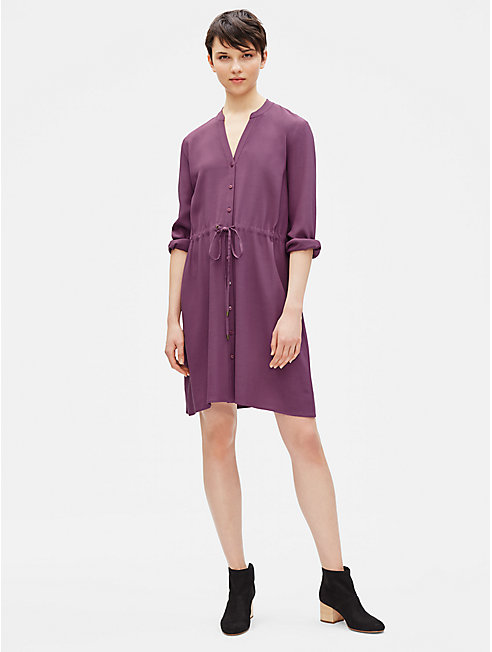 Tencel Viscose Crepe Drawstring Dress