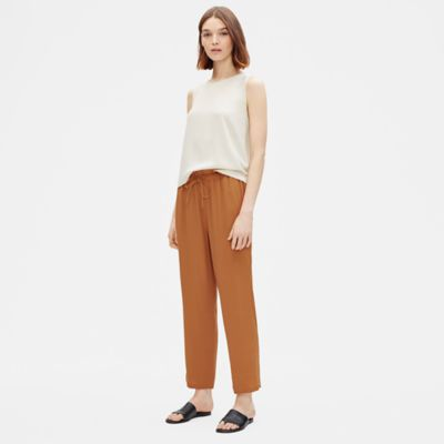 Tencel Viscose Crepe Pant with Gathered Waist