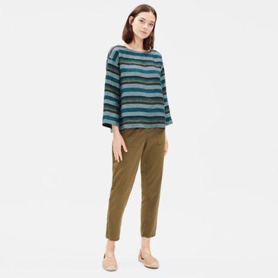 Organic Linen Striped Box-Top