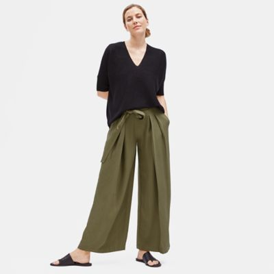 Tencel Twill Wide-Leg Pant with Belt